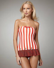 JUICY COUTURE BANDEAU SWIMDRESS SWIMSUIT STRIPED SAILOR GIRL RETRO PINUP P XS