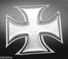 Sticker relief 3D MALTESE CROSS chromé (2) - Style BIKER HARLEY