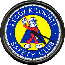 Reddy Kilowatt Electrician Utility Lineman Electrical Safety Sign Wall Clock