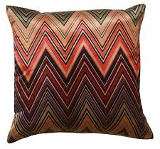 "Multicolour Zigzag Print 16"" X 16"" Silk Satin Cushion Cover Pillow for Sofa Bed"