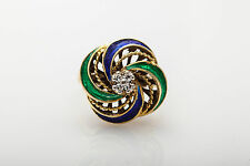 Antique 1950s Blue Green Enamel VS G Diamond 18k Yellow Gold Ring FREE SIZING