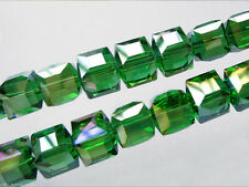Bulk 20pcs Grass Green Glass Crystal Faceted Cube Beads 8mm Spacer Findings