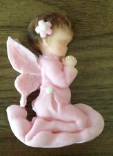 ANGEL BABY GIRL PRAYING CHRISTENING CUPCAKE CAKE DECORATION TOPPER EDIBLE PINK