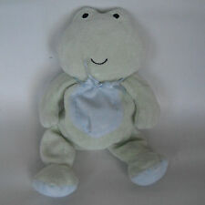 "Carters Frog Small Green BLUE BELLY Bow Beanbag Plush Just One Year 8"" Repaired"