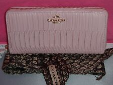 ~ COACH ~NWT~PETAL PINK GATHERED LEATHER ZIP AROUND WALLET ~ BAG SCARF ~