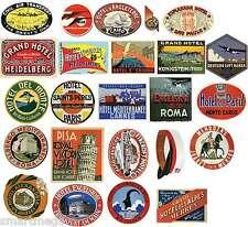 Vintage Hotel Kofferanhänger Sticker - 24er packung Koffer PVC Reise Aufkleber