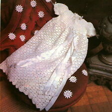 Vintage crochet pattern-how to make a cute baby long dress,christening gown