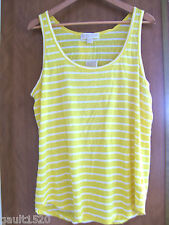 NWT MICHAEL Michael Kors Citrus Yellow White Linen Modal Striped Tank Top XL $90
