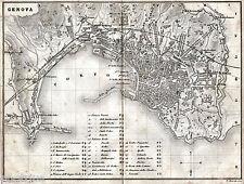 Pianta di Genova. Carta Topografica. Artaria. Stampa Antica + Passepartout. 1871