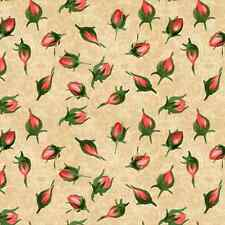 Pink Rose Buds, Tossed About, Bouquet Moderne, South Sea Imports (By 1/2 yd)