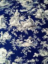 Deep Blue French Toile Drapery Upholstery Fabric Waverly Screen Print 2yd Farm