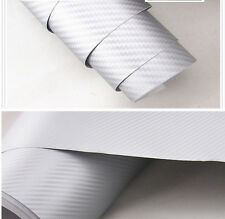 Auto Interior SILVER Twill-Weave Carbon Fiber Vinyl Wrap Sheet Decal Sticker A