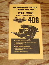 1962 Ford 406 High Performance Engine Owners Operators Manual 62