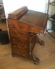 ANTIQUE DAVENPORT SHIP CAPTAINS WRITING DESK LEATHER BURLED WOOD INLAY
