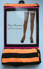 NEON ORANGE  & BLACK STRIPE STRIPED STOCKINGS LEG AVENUE CYBER  PUNK DOLLY RAVE
