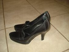 SERGIO ROSSI BLACK LEATHER HEEL LOAFERS PUMPS Sz 38M MADE IN ITALY