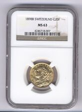 SWITZERLAND REPUBLIC 1898-B  20 FRANCS GOLD COIN UNCIRCULATED CERTIFIED NGC MS63