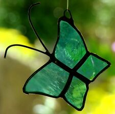 Small ARCTIC ICE BLUE BUTTERFLY stained glass suncatcher Childrens Birthday Gift