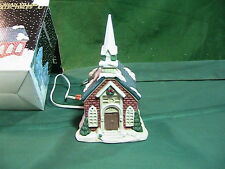 Christmas Victorian Village Porcelain Light-Up House Church Christmas