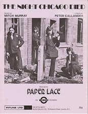 The Night Chicago Died - Paper Lace - 1974 Sheet Music