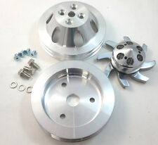 BBC Big Block Chevy 2 Groove Billet Aluminum Short Pump Pulley Kit 396 427 454