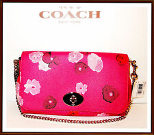 NWT $295 Coach Floral Leather Trim Flap Crossbody Bag Clutch Wristlet RUBY PINK