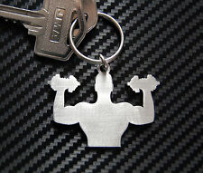 MUSCLE MAN Bodybuilder Gym Weight Training Keyring Keychain Key Stainless Steel