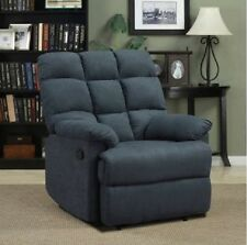 Recliner Lounge Chair Blue Accent Chairs For Living Room Microfiber Overstuffed