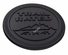 All Black Metal Trail Rated 4x4 Round Perfromance Emblem Badge for Jeep Wrangler