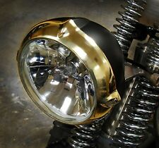 "LOW VINTAGE EARED SOLID BRASS & BLACK 5.5"" HEADLIGHT HARLEY XS650 BOBBER CHOPPER"