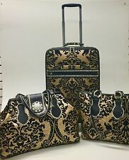 Raviani 3 Pcs Set Chenille Blk&Tan Tapestry & Leather Luggage,Tote,Carry on Bag