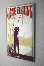 Tin Sign Pisces Angel Fishing Fisherman'S House Vintage
