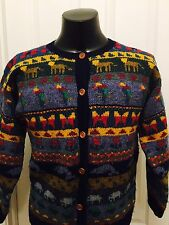 VINTAGE L.L. BEAN 100% WOOL BUTTON FRONT ANIMALS SWEATER JACKET WOMENS SIZE S