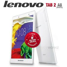 """New Unlocked LENOVO Tab 2 A8-50 White 8"""" IPS Tablet Size 4G Android Mobile Phone"""