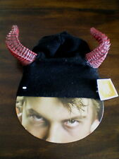 Costume DEVIL BEANIE Knit Cap with RED HORNS NEW Adult Teen HAT Halloween