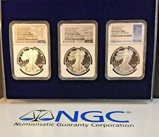 2016 W $1 Proof American Silver Eagle 3 Coin Set PF 70 UC First Day of Issue FDI