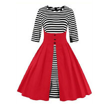 Plus Size Vintage 1950s Swing Dresses Stripes Housewife Party Prom Dress S~4XL