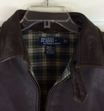 POLO Ralph Lauren Brown Leather Jacket Butter Soft Fully Lined Men's Large EUC