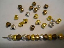 75 SILVER, GOLD, COPPER PLATED 4mm HEART VALENTINE SPACER BEADS BARS BRACELET