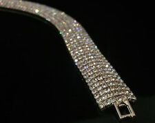 14k White Gold GP Bracelet w/ Swarovski Elements Crystal Full Pave Bling Bangle