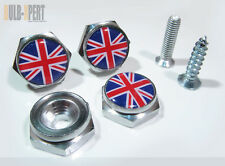 BLUE RED WHITE MINI COOPER UK UNION JACK FLAG LICENSE PLATE FRAME BOLT SCREW X 4