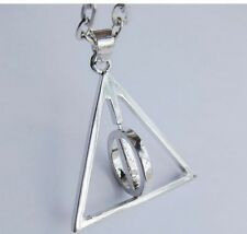 Harry Potter Deathly Hallows Necklace Pendant Silver Effect w. ROTATING CENTRE