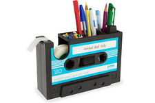 Rewind Desk Tidy Retro Cassette Tape Dispenser Office Gadget Storage - Blue