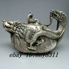 China's Tibet silver handmade carving dragon turtle teapot statue