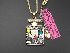 Betsey Johnson so chic inlay Crystal Perfume Bottle Pendant Necklace Rhinestones