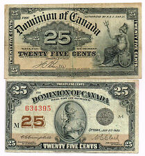 LOT OF TWO 1900-23 DOMINION OF CANADA 25 CENTS SHINPLASTERS - p9b,11c