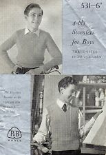 ~ Vintage 1950's Knitting Pattern For Boy's Sweater & Top ~