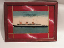 SS NORMANDIE LINER ORIGINAL 1935 OIL ON GLASS PAINTING / POSTACARD CRUISE SHIP
