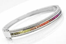 925 Sterling Silver Rainbow MultiColor Princes Sapphire A Deco Bangle Bracelet