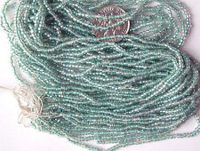 "Turquoise Pewter Green Vintage Color Lined Glass Seed Beads Long 20""Strands Hank"
